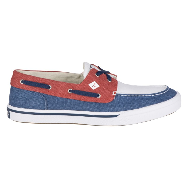 Sperry Bahama II Boat Washed *NEW* S472 NAVY/RED/WHITE